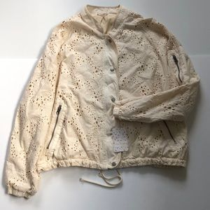 Free People new with tags ivory eyelet jacket!